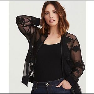 TORRID 4X Mesh and Lace Bomber Jacket